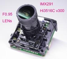 """F0.95 Ống Kính thông minh analisys H.265 1/2. 8 """"STARVIS IMX291 CMOS + Hi3516C V300 camera IP camera QUAN SÁT PCB ban đun + LAN cáp"""