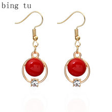 Bing Tu Gold Color Jewelry Dangle Earring Red Green Black Enamel Round Drop Earrings Women Jewellery Accessories Charm Earings(China)