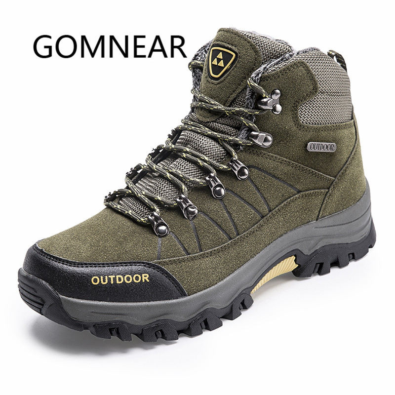 GOMNEAR Winter Sneakers With Fur Breathable Hiking Shoes For Men Outdoor Trekking Tactical Shoes Big Size Sports Man Sneakers цена