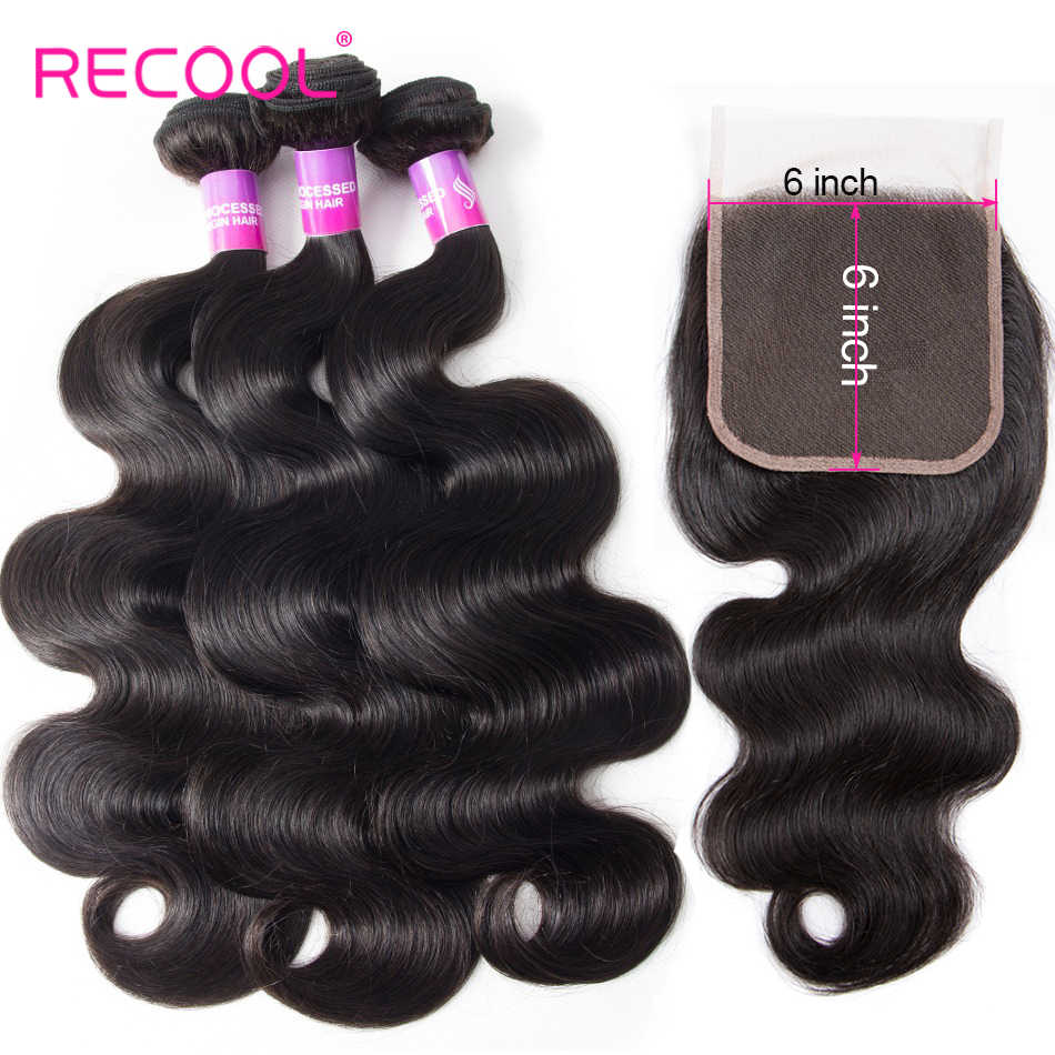 Recool Brazilian Hair Weave 3 Bundles With Closure Body Wave Bundles With 6X6 Lace Closure Remy Human Hair Bundles With Closure