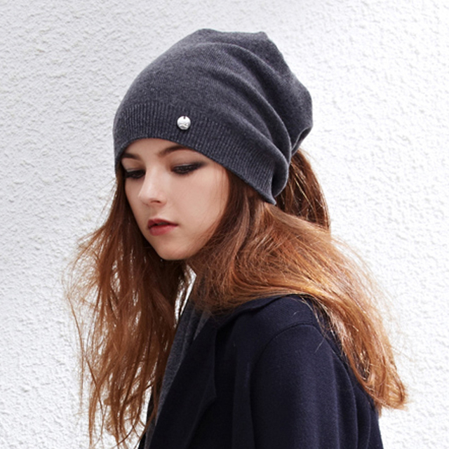 ff619248d91 2017 Stylish Women s Ponytail Beanie Hat Wool Autumn Winter Knitted Hat Caps  For Female Black Grey