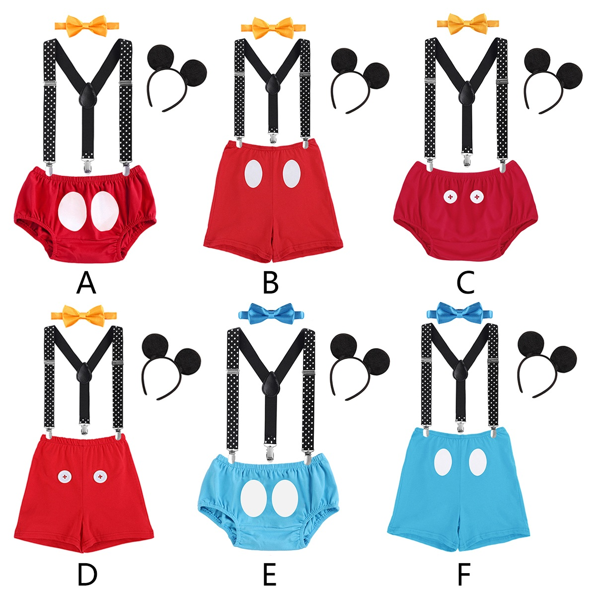 4pcs Set Baby Boy Girl Mickey Mouse Cake Smash Outfits 1st Birthday Party Suspender Pants Headband Bow Tie Photo Prop Clothes