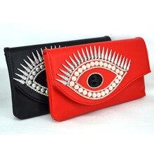 Mode Kristall Teufel Auge Rot Pu frauen Handtasche Partei Handtasche Abendtasche Damen Handtaschen Schwarz Messenger Hülle Tasche 827827