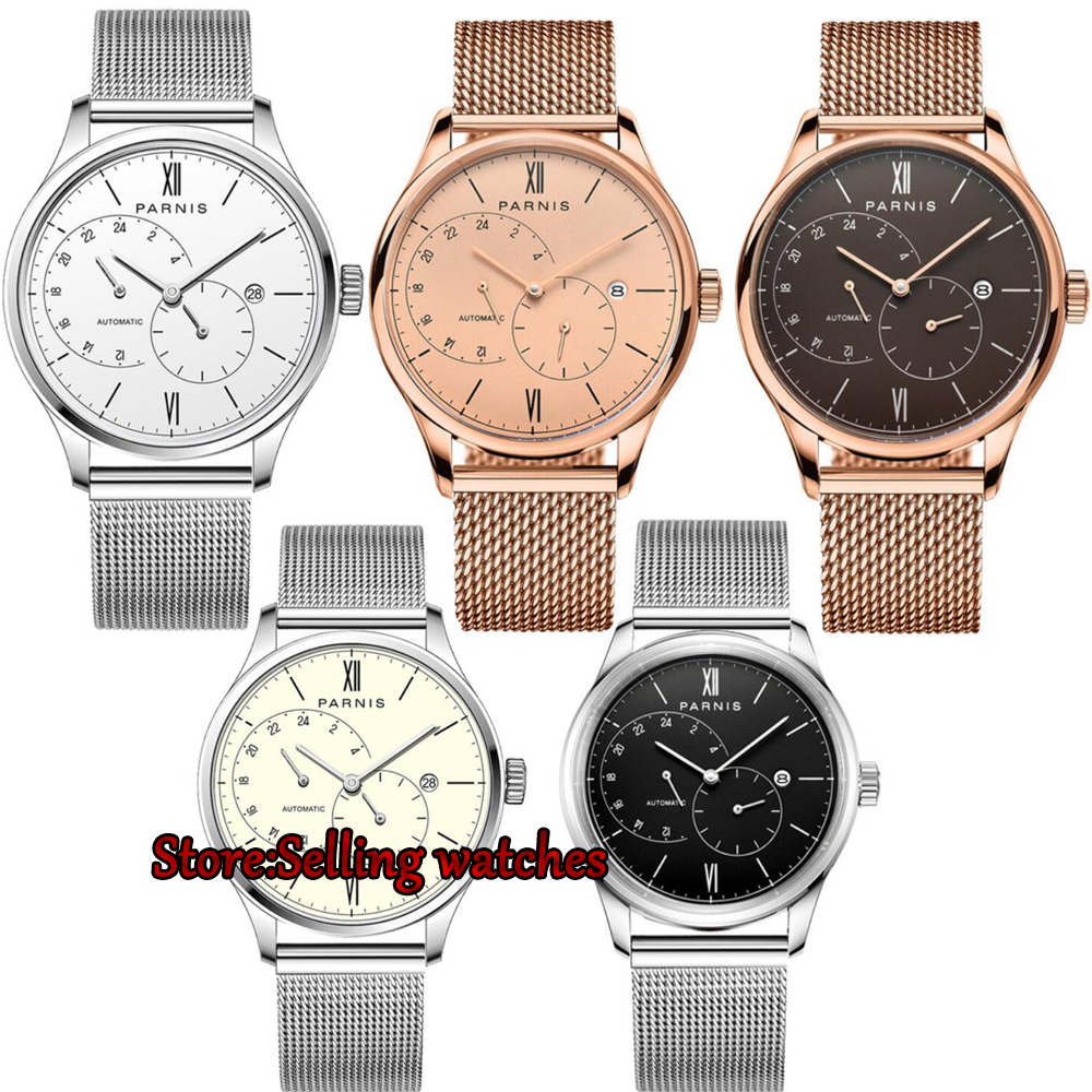 New Arrival 2017 Hot Parnis 42mm Automatic Watch Men Ultra Thin Mesh Steel Band Leather Strap Men Mechanical Watches New Arrival 2017 Hot Parnis 42mm Automatic Watch Men Ultra Thin Mesh Steel Band Leather Strap Men Mechanical Watches