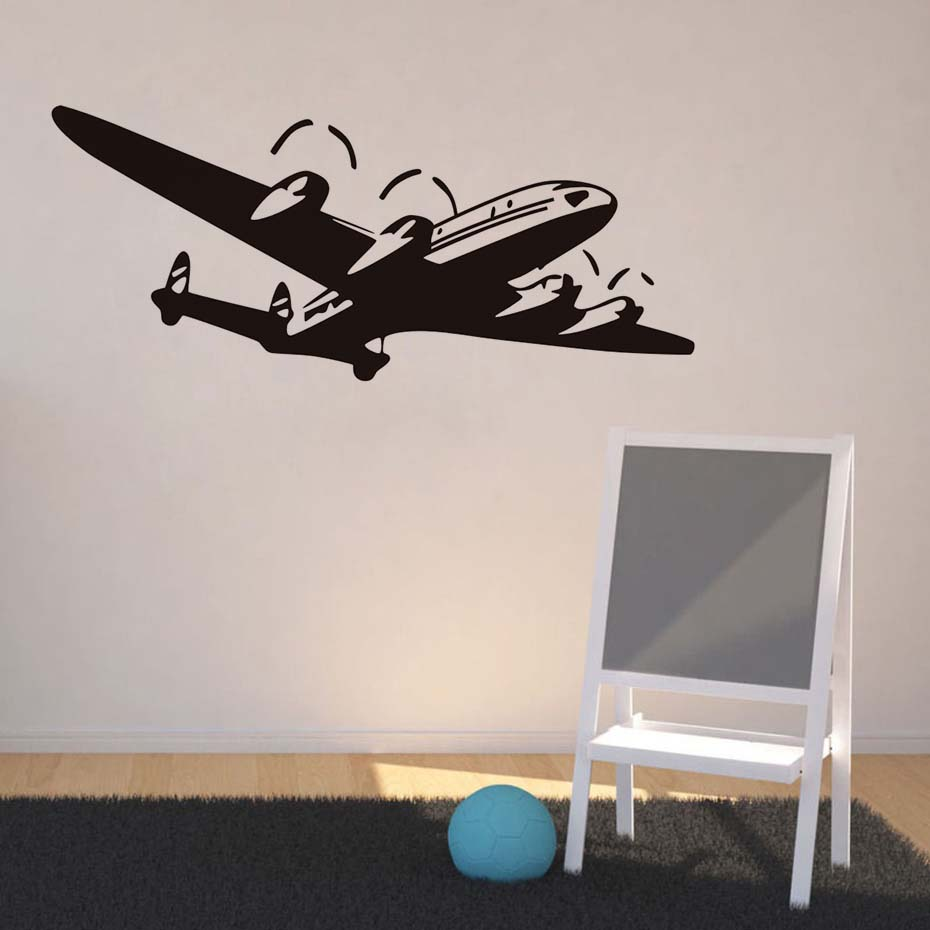 Us 6 21 23 Off Airplane Wall Decal Vinyl Adhesive Sticker Cartoon Nursery Decals Art Mural Transfer Vintage Home Decoration In Stickers