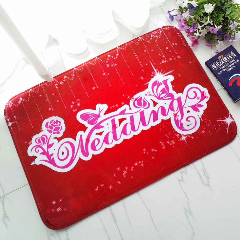 Floor Mat Rug Home Red Doormat Flannel Non-Slip Pad Kitchen Room Carpet Mats Absorption Alentines Day gift Wedding Decoration