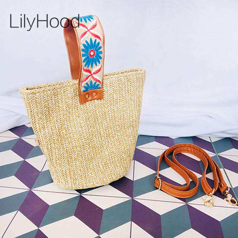 LilyHood Women Straw Summer Wide Top-Handle Bag Fashion Embroidery Casual Beach Small Candy Color Green Stylish Shoulder Bag stylish bowknot decorated wavy edge beach straw hat for women