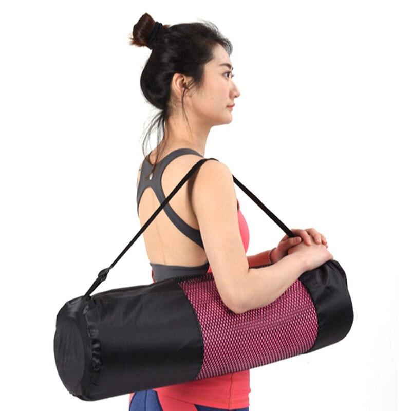 NoEnName_Null Nylon Mat Bag Carrier Mesh Adjustable Strap Fr Yoga Gym Exercise Sports Portable Black