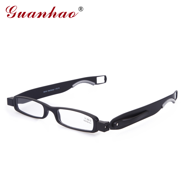 Guanhao Brand Designer Folding Reading Glasses Rotate 360 Degrees TR90 Frame Men Women Retro Reading Glasses 1.0 1.5 2.0 2.5