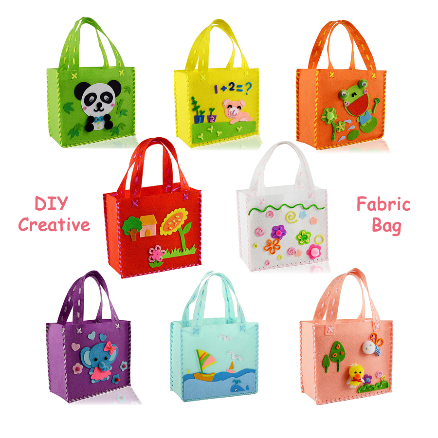 Handmade DIY Non-woven Fabric Cloth Sewing Pattern Bags Cartoon DIY kit,Art & Crafts Educational Manual Toys For Children Gift