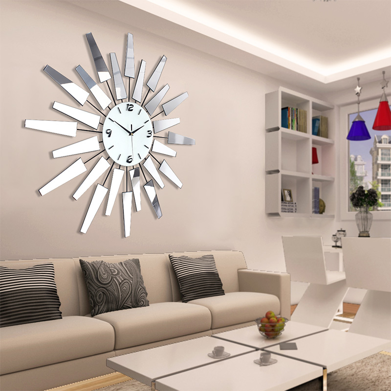 Large art watch brief fashion living room wall clock modern  decoration silent pocket quartz in Wall Clocks from Home Garden on