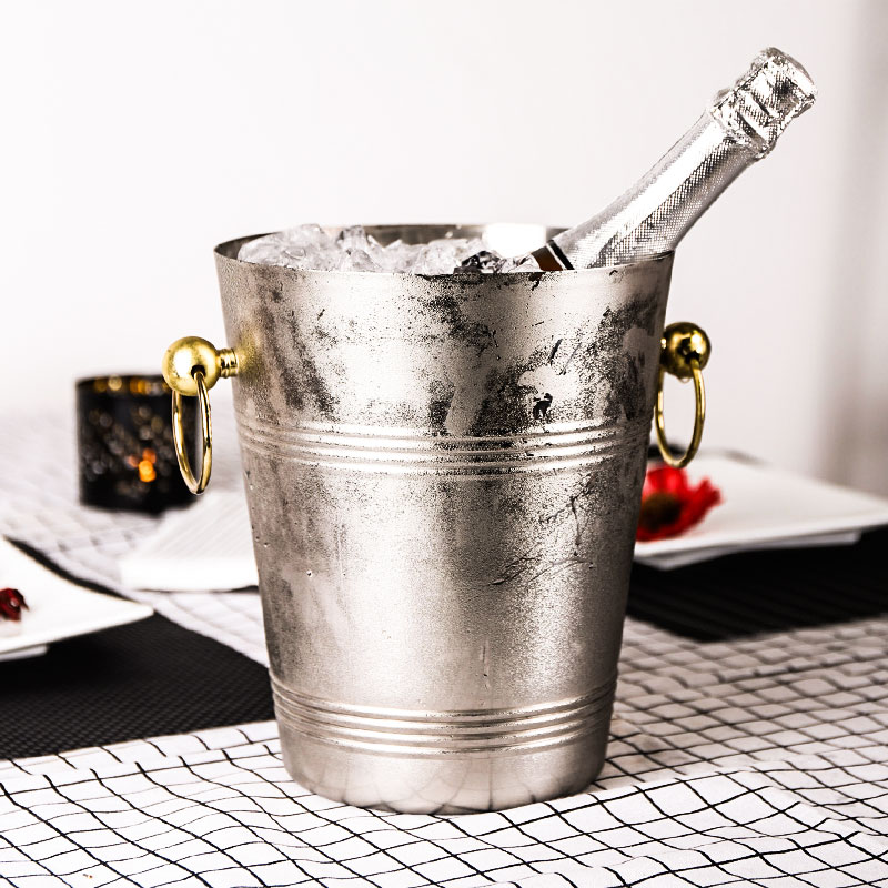 304 Stainless Steel Double Layer Ice Bucket Quality Stainless Steel Wine Ice Storage Bar Buckets 5L