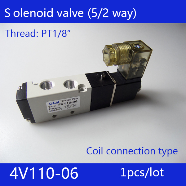 Free Shipping 1/8 2 Position 5 Port Air Solenoid Valves 4V110-06 Pneumatic Control Valve , DC12v DC24v AC36v AC110v 220v 380v free shipping 2pcs in lot 5 port 3 position 3 8 inner guide 4v330c 10 double head air solenoid valve voltage optional