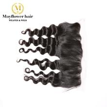 """MFH девственные волосы 13x"""" фронтальная естественная волна, полностью связанный вручную с детскими волосами, расставания предварительно сорванного натурального цвета"""