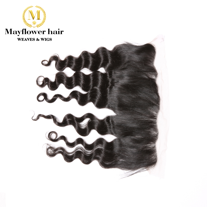 "MFH 100%  Virgin Hair 13x4"" Frontal  Natural Wave Full Hand Tied With Baby Hair Free Parting Pre Plucked Natural Color"