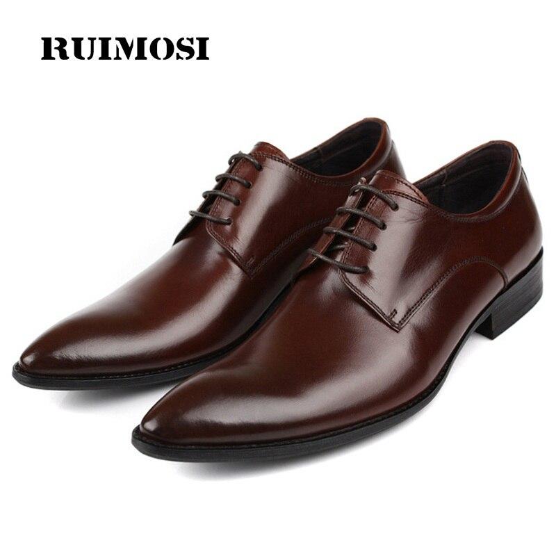 RUIMOSI Luxury Brand Pointed Man Formal Dress Shoes Genuine Leather Male Oxfords Italian Designer Men's Derby Bridal Flats GK33