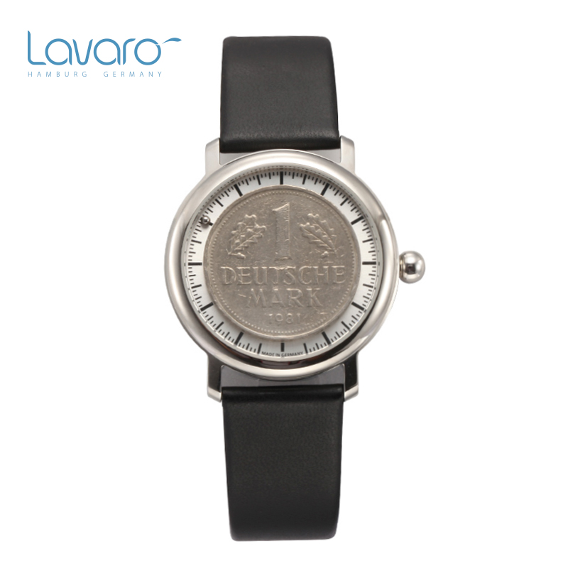 LAVARO Women'S Vintage Casual Analog Quartz Round Wrist Watch Watches With Black Genuine Leather Strap Watch Coin Figure
