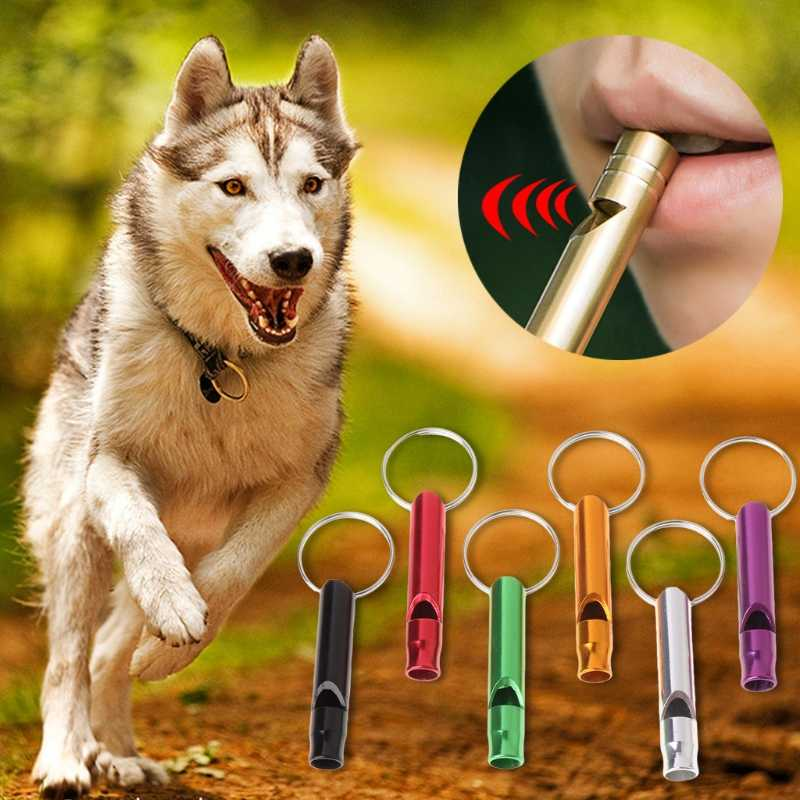 อลูมิเนียมแบบพกพาขลุ่ยสัตว์เลี้ยงนกหวีดการฝึกอบรมสุนัขลูกสุนัขเสียง key แหวน