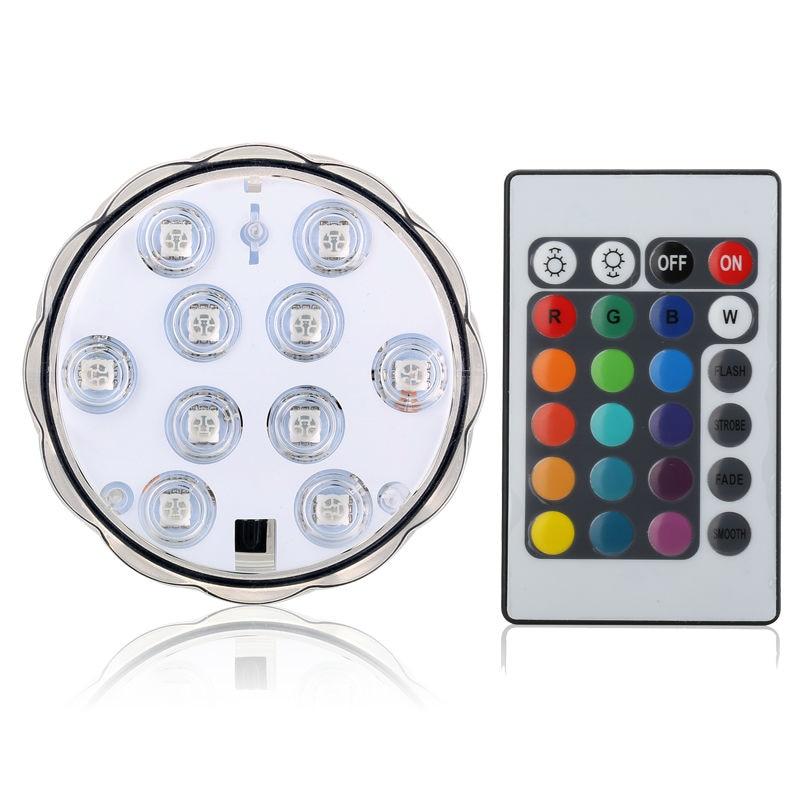 (1 buah / lot) 10-LED RGB LED Light Submersible, Multi Warna Waterproof Wedding Party Vas Basis Cahaya Floral