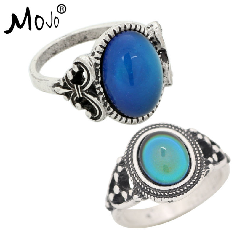 2PCS Antique Silver Plated Color Changing Mood Rings Changing Color Temperature Emotion Feeling Rings Set For Women/Men 008-006