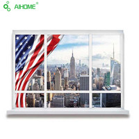 Creative American Style Fake Window 3D Wall Stickers Lifelike USA False Window Living Room Bar Wall Sticker Mural Art 50*70cm