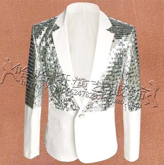 White Blue Clothes Men Suits Designs Masculino Homme Terno Stage Costumes For Singers Jacket Men Sequins Blazer Dance Star Style