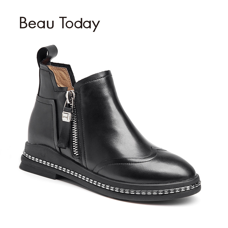 BeauToday Ankle Boots Women Genuine Calf Leather Wingtip Double Zippers Round Toe Shoes Ladies Handmade Ankle Boot 03105