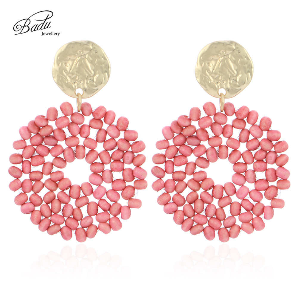 Badu 2020 New Arrival Dangle Earring Red Wooden Beads Big Vintage Weave Earrings Retro Jewelry Gift for Girls Wholesale