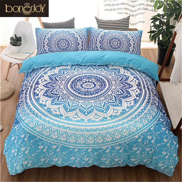 Blue black purple color bedding kit for adult bedroom full queen king size bed set bohemian bed for Full size bedroom sets for adults