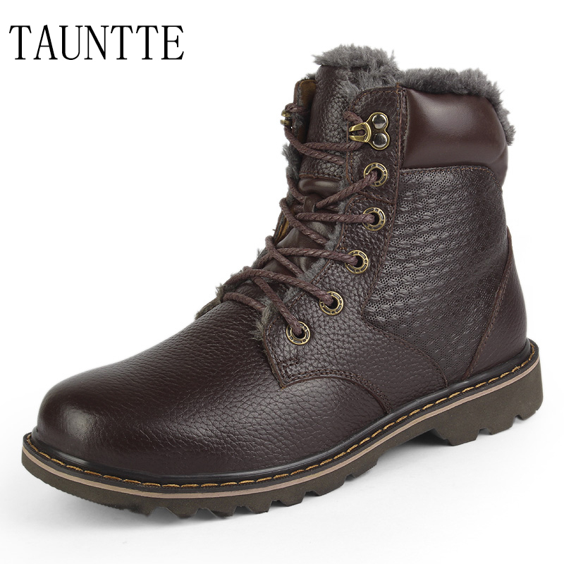 Tauntte Winter Plush Motorcycle Boots Men Genuine Leather Snow Boots Fashion Ankle Boots Keep Warm Martin Plus Size 2015 men fashion martin boots men pu leather winter ankle boots motorcycle winter men boots