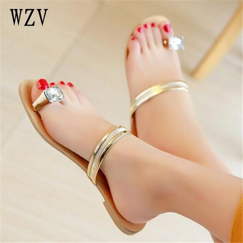 Women Sandals Flip Flops 2018 New Summer Fashion Rhinestone Wedges Shoes Woman Slides Crystal Beautiful Casual slipper wastyx new 2017 summer fashion cowboy women sandals casual women flip flops shoes wedges shoes woman