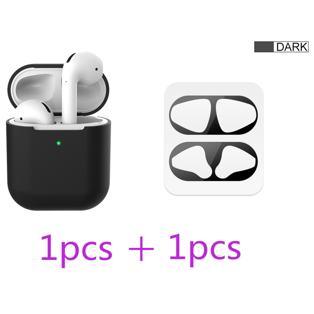 2 in 1 TPU Silicone Bluetooth Wireless Earphone Case & Metal Film Sticker For AirPods 2 Protective Cover For AirPod Charging Box