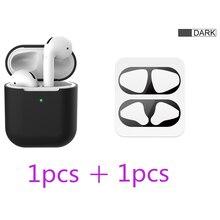 2 in 1 TPU Siliconen Bluetooth Draadloze Oortelefoon Case & Metalen Film Sticker Voor AirPods 2 Beschermhoes Voor AirPod opladen Doos