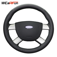 WCaRFun DIY Customized Name Hand Stitched Black Artificial Leather Auto Car Steering Wheel Cover for Ford Kuga 2008 2011 Focus 2