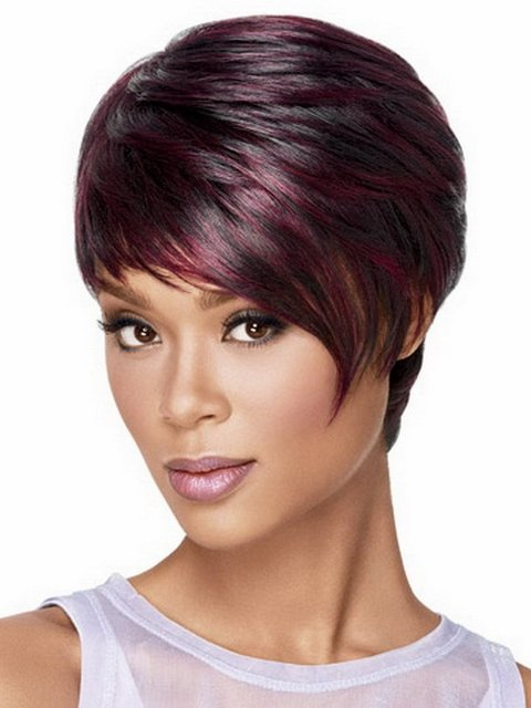 1pcs Fashion Sexy Synthetic Straight Highlights Black Red Short