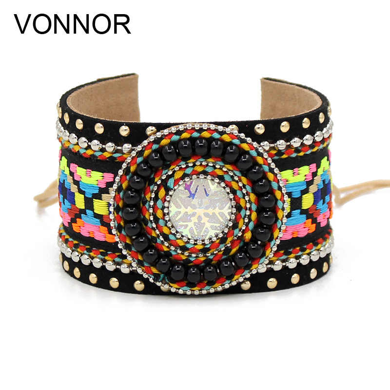 VONNOR Bracelet for Women Bohemian embroidered cloth Bangle Bracelets 2018 autumn winter Female Bracelet Jewelry Dropshipping