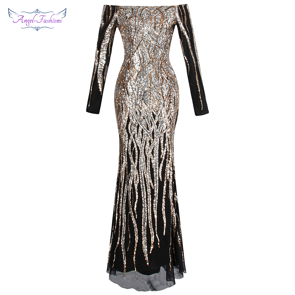 Angel-fashions Women's Off Shoulder Long Sleeve Evening Dresses Twinkling Sequin Gold Party Gown 404 456