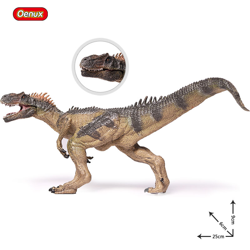 Oenux New Jurassic Dinosaur Carnivorous Allosaurus Mouth Can Open Action Figure Brinquedo Collection Learning & Educational Toy jurassic velociraptor dinosaur pvc action figure model decoration toy movie jurassic hot dinosaur display collection juguetes