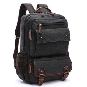 Image 1 - Unisex Vintage Rucksack Männer Reisetaschen Leinwand Tasche Mochila Masculina Laptop Rucksäcke Frauen Schule Tasche für Teenager Zurück Pack