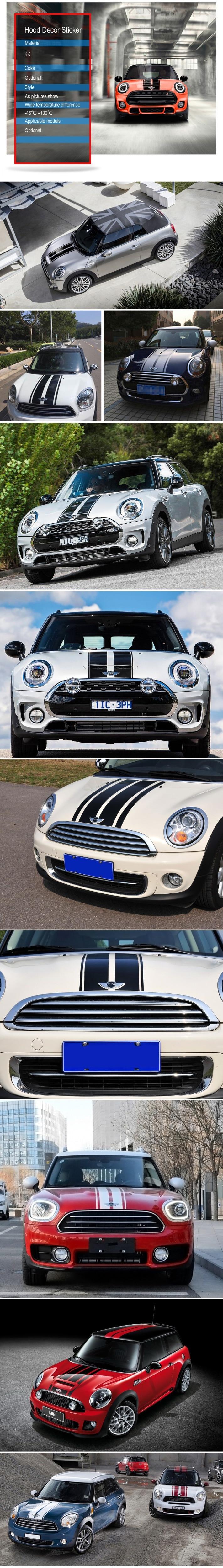 Автомобильный стиль, наклейка на голову, капот, наклейки в полоску для MINI Cooper S One, земляк, Clubman R55 R56 R60 R61 F54 F55 F56 F60, аксессуары