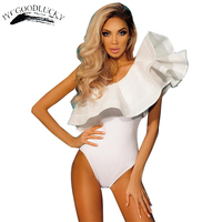 2017 Fashion Ruffle Bodysuit Sexy Off Shoulder Bodysuits Overalls For Women Hot Sale Slim Jumpsuit Rompers