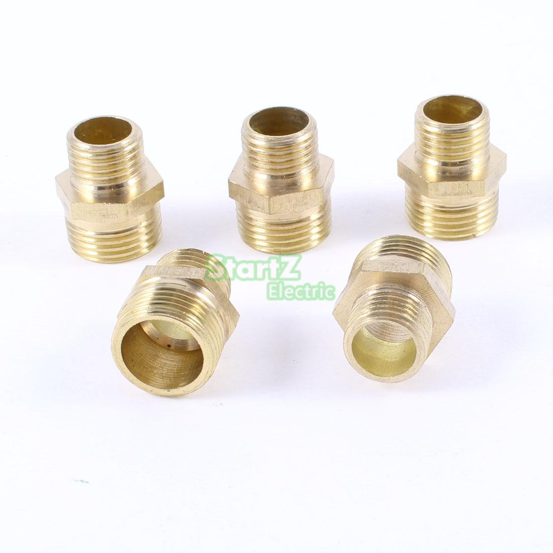 "Male To Male Thread 1/4""PT X 1/2""PT Brass Hex Nipple Quick Fittings 5 Pcs"