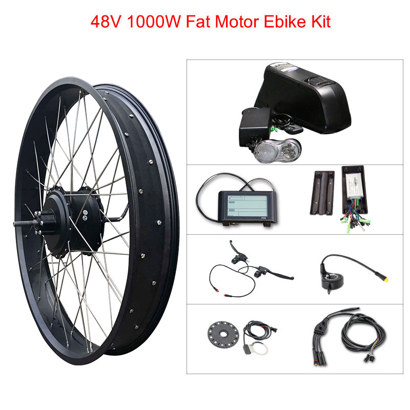 Electric Bike Kit 1000w Fat tire Motor Wheel 48V 12A SAM/16A LG E Bike Kit Electric Bicycle Conversion Kit for Rear Hub MotorElectric Bike Kit 1000w Fat tire Motor Wheel 48V 12A SAM/16A LG E Bike Kit Electric Bicycle Conversion Kit for Rear Hub Motor