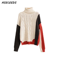 Winter oversized patchwork knit sweater women pullover christmas sweater turtleneck long sleeve warm korean loose tops Fall 2018