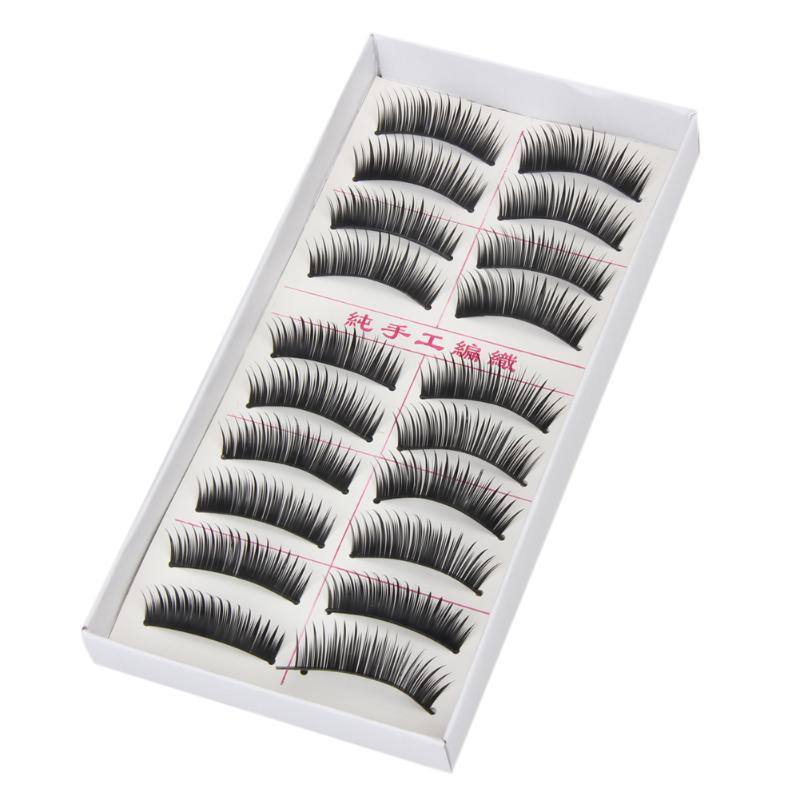 10 Pairs Makeup Handmade Natural Soft Long Thick Black False Eyelashes Charming Eye Lash ...