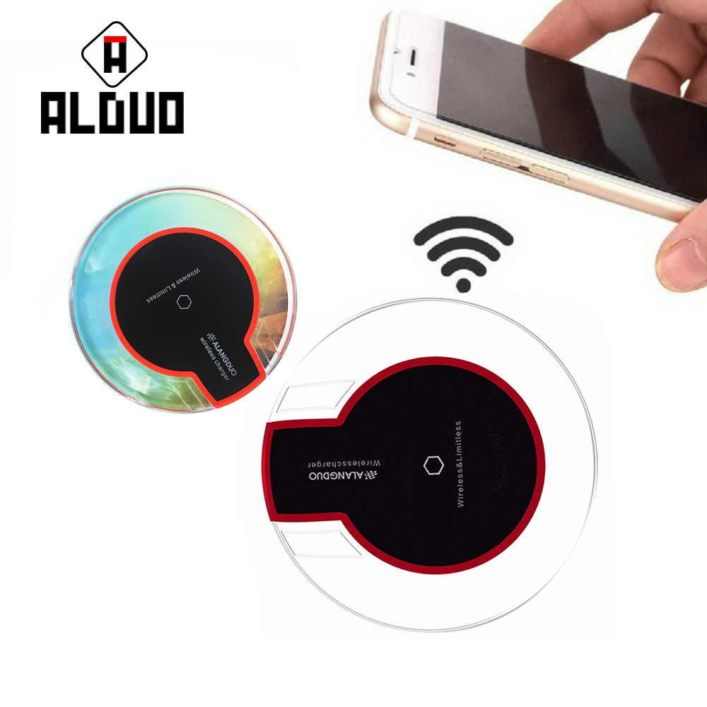 ALANGDUO Universal Wireless <font><b>charger</b></font> Crystal Wireless Charging Qi Wireless Charging Receiver for iphone 8 8plus Max 5V2.4A