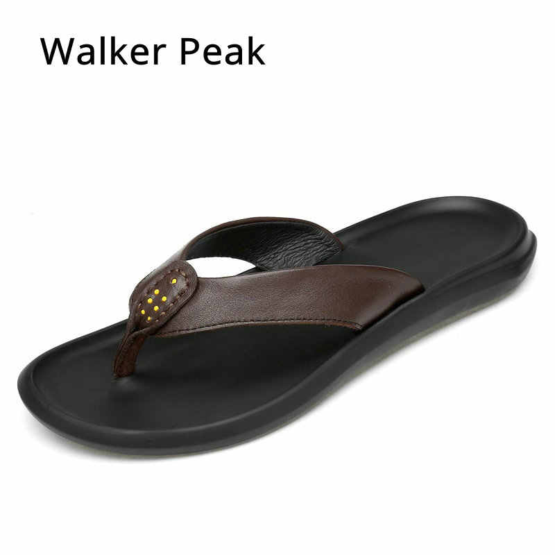 d740f8b92118 Walker Peak Cow Leather Men Beach Slippers Fashion Flip Flops With Soft  Sole Trendy Breathable Easy