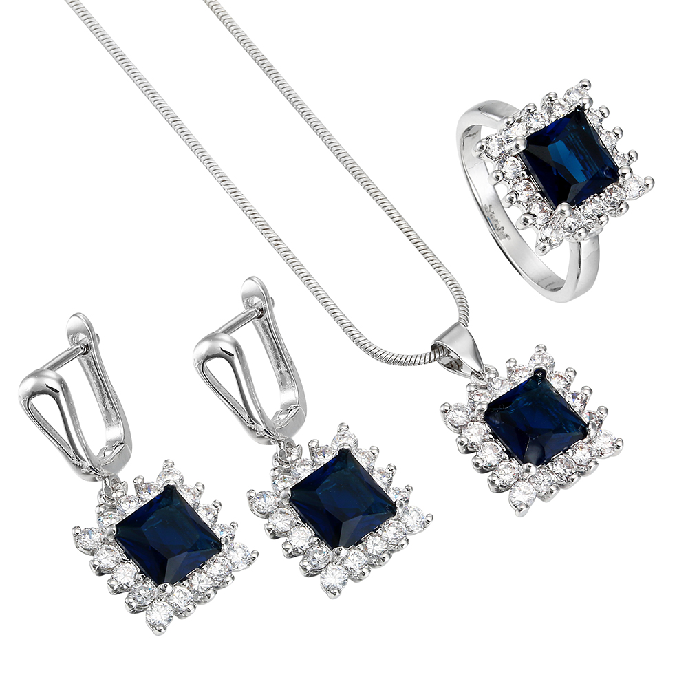Luxury Square Jewelry Sets Silver white blue zircon top quality Engagement Rings Necklace Earring silver bridal