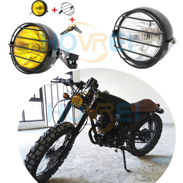12v 35w 6 Motorcyle Metal Grid Retro Front Headlight With Brackets Headlamp For Harley Cafe