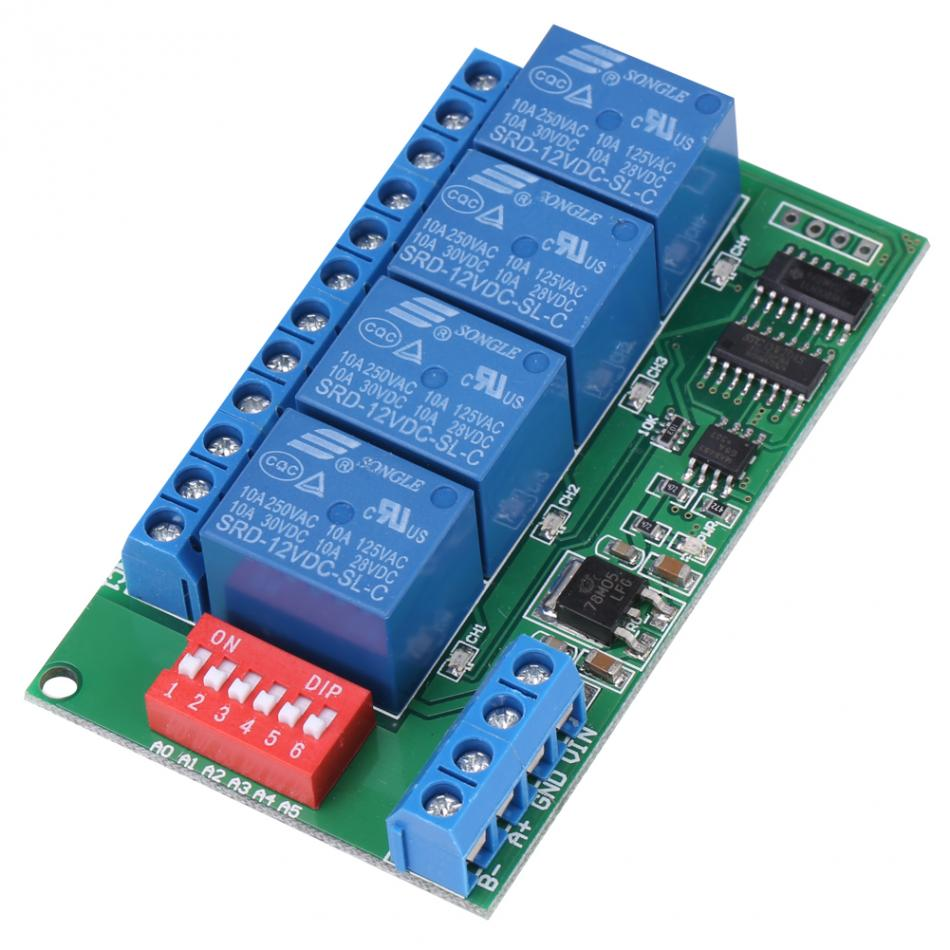 DC 12V 4-Channel RS485 Delay Timer Switch Relay AT Command Remote Controller Delay Timer Switch Relay Module dc 5v multifunction self lock relay plc cycle timer module delay time switch